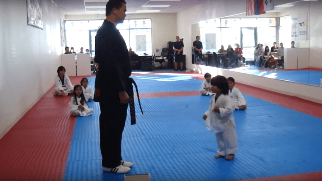 Junge versucht Brett in Taekwondo zu zerbrechen