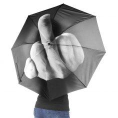 Regenschirm mit Mittelfinger Aufdruck